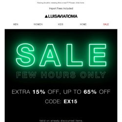 [LUISAVIAROMA] Only For A Few Hours: Extra 15% Off Sale