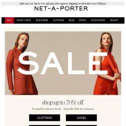 [NET-A-PORTER] Don't miss out on up to 70% off shoes, bags, clothing and more