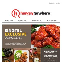 [HungryGoWhere] Exclusively for Singtel customer, 1-for-1 treats on all Korean dishes, BBQ Buffet and more