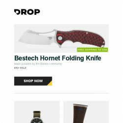 [Massdrop] Bestech Hornet Folding Knife, Glycine Combat 7 Vintage Automatic Watch, Darn Tough Hiker Micro Crew Cushion (2-Pack) and more...