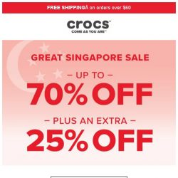 [Crocs Singapore] Sale On Sale! ⭐Up to 70% off + Extra 25% off⭐