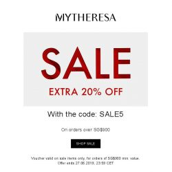 [mytheresa] 3 days only: extra 20% off all sale items