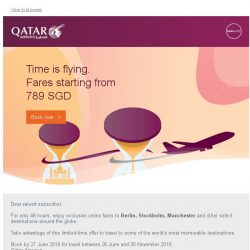 [Qatar] Exclusive online-only fares starting from 789 SGD to Berlin, Stockholm and more