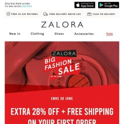 [Zalora] Extra 28% OFF + Free Shipping on your first order 