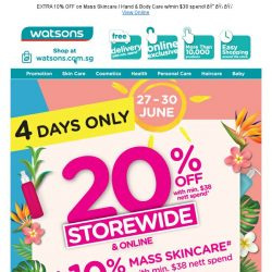 [Watsons] 20% OFF Storewide Sale is up and running!