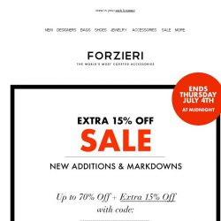 [Forzieri] Extra 15% off SALE // 12,500 styles for both