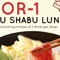 Suki-Ya: Enjoy 1-for-1 All You Can Eat Shabu Shabu Lunch at Tampines Mall!