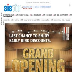 [SISTIC] Early Bird for Wild Rice's Grand Opening Season ends this Wed!