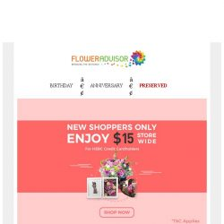 [Floweradvisor] Don't Be Sad, We Covered You With 15% OFF!