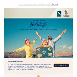[Singapore Airlines] Start your next vacation with great holiday package deals