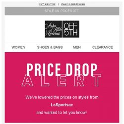 [Saks OFF 5th] PRICE DROP alert: styles from LeSportsac