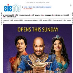 [SISTIC] A whole new world arrives this Sunday with Disney's Aladdin!