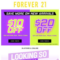 [FOREVER 21] Take $20 off NOW!