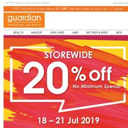 [Guardian] ⚡ 20% off EVERYTHING starts now | Take 25% off when you order online!