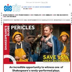 [SISTIC] Shakespeare's Globe – Last 4 days to SAVE 15% off PERICLES!