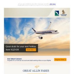 [Singapore Airlines] ✈ Time to book your next vacation. Great deals from SGD138