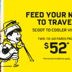 Scoot: Two-to-Go Extended Sale with Fares from SGD52 to China, Australia, Thailand, Japan & More!