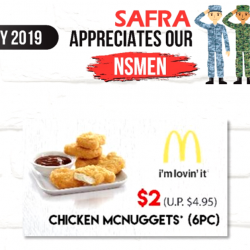 McDonald's: SAF Personnel & SAFRA Members Enjoy 6pcs Chicken McNuggets at Only $2 at 3 SAFRA Outlets!