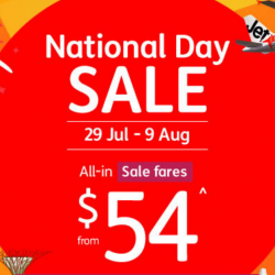 Jetstar: National Day Sale Fares from SGD54 All-In to 20 Destinations!