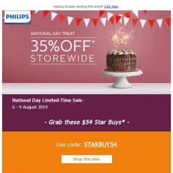 [PHILIPS] , one more day for Storewide 35% off* this National Day!
