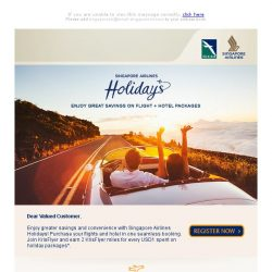 [Singapore Airlines] Holiday package deals to exciting destinations