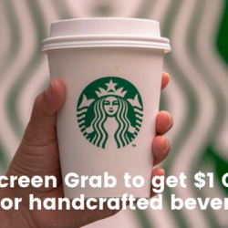 Starbucks: Flash Screen Grab to Get $1 OFF Any Food Item or Handcrafted Beverage!