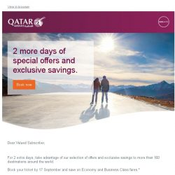 [Qatar] Offer extended for 2 more days. Incredible fares starting from 819 SGD