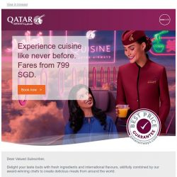 [Qatar] Experience cuisine like never before. Fares starting from 799 SGD