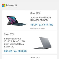 [Microsoft Store] Save up to 25% on Surface devices. Pro 6 i5/8GB RAM/256GB SSD - S$1341.