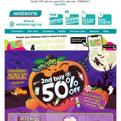 [Watsons] Are you ready for the boo 👻? Wicked deals up to  50% OFF 🎃