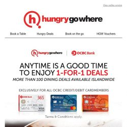 [HungryGoWhere] OCBC Exclusive: 1-for-1 dining deals to wow you this November