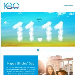 [KLM] Celebrate Singles' Day with a discount