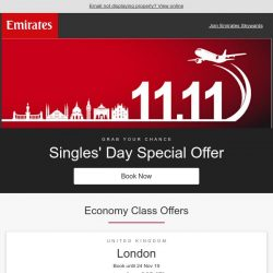 [Emirates] Don't miss great savings on Singles' Day special fares