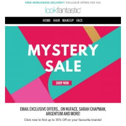 [lookfantastic] MYSTERY SALE up to 40%   NuFACE, Sarah Chapman and more!