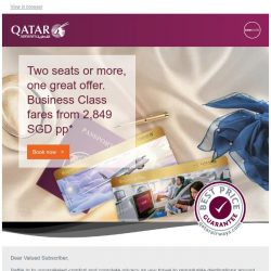 [Qatar] Two seats or more, one great offer. Business class fares from 2,849 SGD pp*