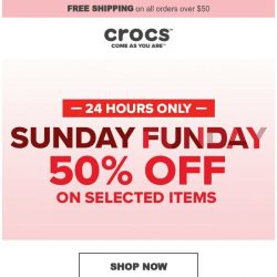 [Crocs Singapore] 【24hrs Only】 Sunday Funday 50% off!