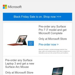 [Microsoft Store] Black Friday Sale: Surface Pro 7 and Surface Laptop 3 offers