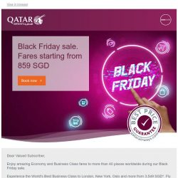 [Qatar] Black Friday sale. Fares starting from 859 SGD