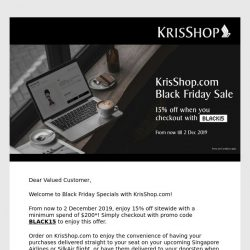[Singapore Airlines] Enjoy 15% off with KrisShop.com's Black Friday Specials