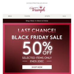 [Triumph] Last Chance! Black Friday sale ends soon