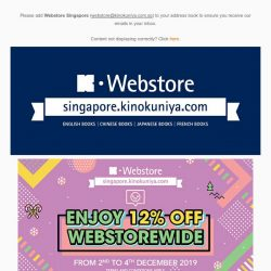 [Books Kinokuniya]  Enjoy 12% OFF WEBSTOREWIDE from today until 4th December 2019, exclusively on Kinokuniya Webstore Singapore. 💻 Shop NOW!