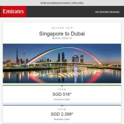 [Emirates] An unbelievable offer to Dubai from SGD 516*