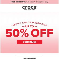 [Crocs Singapore] Up to 50% Off! 2019 End of Season Sale Continues!