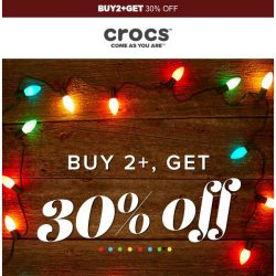 [Crocs Singapore] Hurry! Buy 2+ Get 30% off!