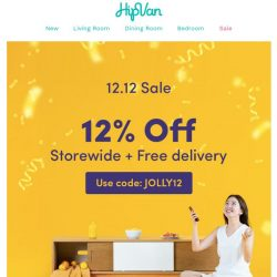 [HipVan] 12% off storewide + free delivery, Today ONLY!⏰
