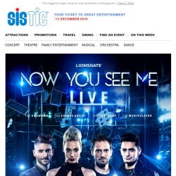 [SISTIC] NOW YOU SEE ME LIVE is coming to Singapore! Enjoy 15% Early Bird Tickets