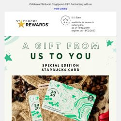 [Starbucks] Here's to you. A Special Edition Starbucks Card.