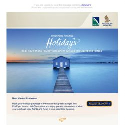 [Singapore Airlines] Enjoy SGD100 off for your holiday package to Perth