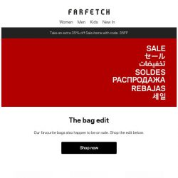 [Farfetch] Extra 35% off the best Sale bags