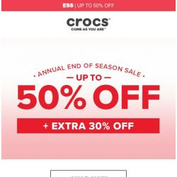 [Crocs Singapore] Up to 50% off + Get an extra 30% off❤